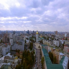 Beautiful panorama from the bird's-eye view of the center of Kiev. Ukraine Stock Footage