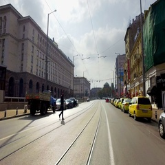 Driving pov and traffic during rush hour in Sofia Stock Footage