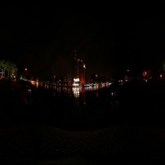 360VR video of Skyline at Love river at night Stock Footage