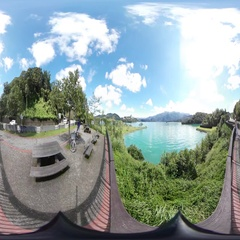 360VR video at the riverside of 5Boat Inn Stock Footage
