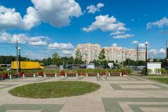 Moscow, Russia - July 09.2016. General view of the alley in Mitino Stock Photos