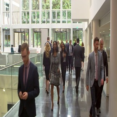 Businesspeople In Busy Lobby Area Of Modern Office Shot On R3D Stock Footage