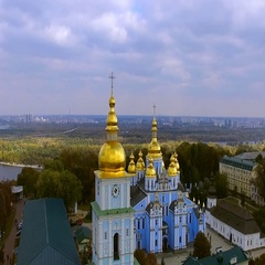 Golden domes of the Christian church on the background of Kiev. Ukraine Stock Footage