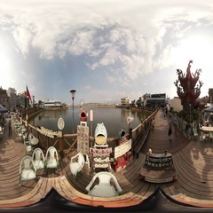 360VR video at Fishing pot recreational boat wharves Stock Footage