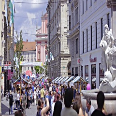 Ljubljana city center street view from Robba fountain to Preseren square 4K Stock Footage