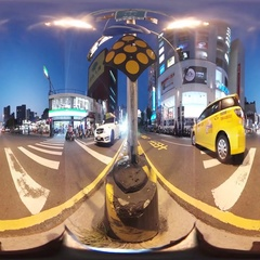360VR video on the streets of Tainan at night Stock Footage
