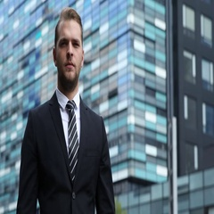 Handsome Businessman Portrait Trustful Look Camera Corporation Building Centre Stock Footage