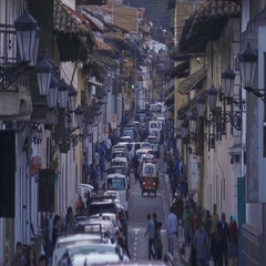 Crowded street at night Stock Footage