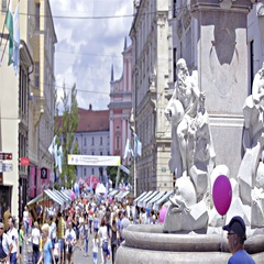 Robba fountain statue in Ljubljana with people walking in background 4K Stock Footage