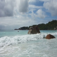 Waves at Anse Lazio, Seychelles Stock Footage