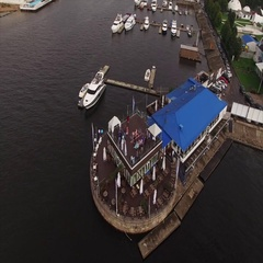 Wedding ceremony in yacht club aerial top view 4k Stock Footage