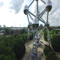 Aerial bird-eye view moving up famous Atomium building in Brussels Belgium 4k Stock Footage