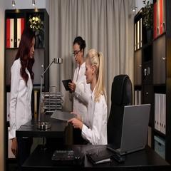 Serious Businesswomen Partnership Checking Pie Chart Affirmative Feedback Office Stock Footage