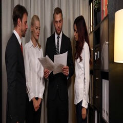 Corporate Business People Look Paper Disappointed Result Company Office Interior Stock Footage