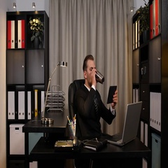 Handsome Businessman Job Using Digital Tablet Energizing with Hot Coffee Office Stock Footage