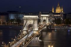 Budapest Landmarks At Night Stock Photos
