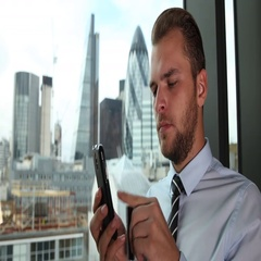 Business Man Using Credit Card Shop Online Banking Mobile Phone London Skyline Stock Footage