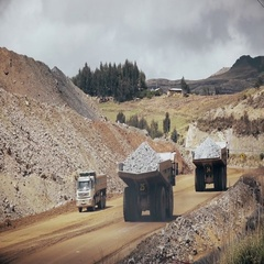 Open pit mining transportation Stock Footage