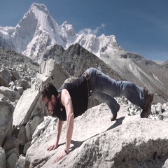 High performance athlete training on mountain Stock Footage