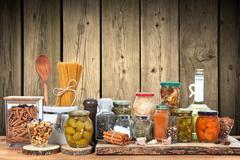 Pickles in jar Stock Photos