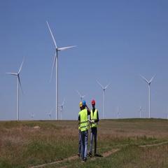 Environmental Field Wind Turbine Presentation Technician Men Cooperation Walking Stock Footage
