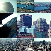 Aerial view of Boston in Massachusetts, USA. Collage of toned photos. Kuvituskuvat