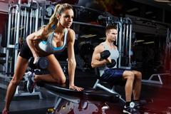 Bent over dumbbell workout Stock Photos