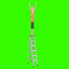 Ladder Safety: Cartoon Man Falls off Ladder (+Matte) Stock Footage