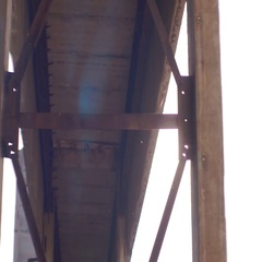 Sunlight through the ruins of an old factory,iron constructions, anamorphic Stock Footage