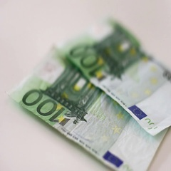 Counting money , 100 euro banknotes. Stock Footage