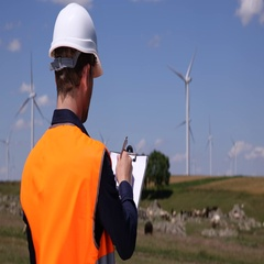 Alternative Energy Technician Man Handwriting Holding Clipboard Wind Turbines Stock Footage