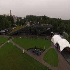 Aerial view of restaurant Royal beach in Saint-Petersburg Stock Footage