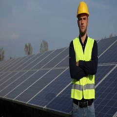 Caucasian Engineer Man Serious Presentation Looking Camera Solarpanels Source Stock Footage
