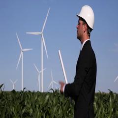 Windpower Plant Farm Entrepreneur Man Read Draft Map Examining Wind Turbine Plan Stock Footage