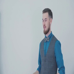 Portrait of the smiling man on the background of bright walls Stock Footage
