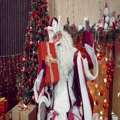 Santa Claus is broadcast on the phone. Stock Footage