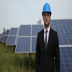 Confident  Business Man Portrait Looking Camera Clean Air Energy Electricity Stock Footage