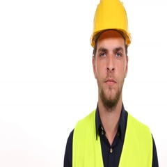 White Background Engineer Man Looking Camera Presentation Posing Serious Look Stock Footage