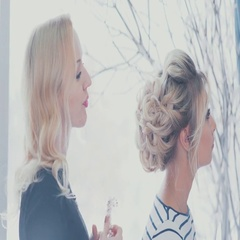 Wedding consultant helps the bride with the selection of accessories Stock Footage