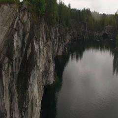Aerial shot of Ruskeala mining park lake 4k Stock Footage