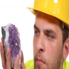 Closeup Master Engineer Examining Purple Amethyst Gemologist Specialist Concept Stock Footage