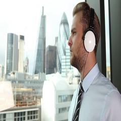 Banker Businessman Using Headphones Listening Disco Song London Skyline Center Stock Footage