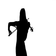 Girl playing the fiddle. Silhouette on white background. Slow motion Stock Footage