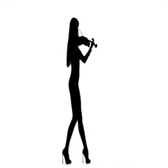 Girl playing the viola. Silhouette on white background. Slow motion Stock Footage