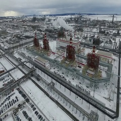 Oil refining plant in the winter in Russia. Stock Footage