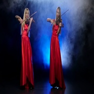 Two girls blonde to play the violin. Smoky background with backlight. Slow Stock Footage