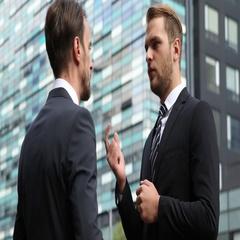 Handsome Businessmen Talking Partner Collaboration Handshake Building City Day Stock Footage