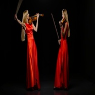 Two women playing the viola. Studio. Black background Stock Footage