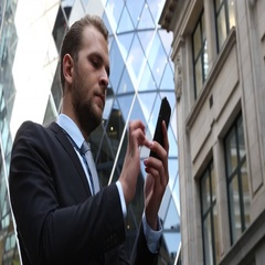 Corporate Businessman Search Mobile Phone Surfing Internet Front Office Building Stock Footage