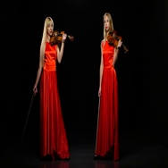 Two girls blonde playing the fiddle. Studio. Black background Stock Footage